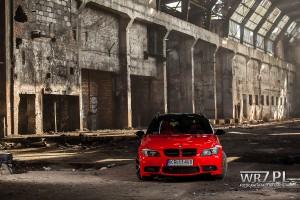 BMW E91 Touring oklejone czerwoną folią Hexis oraz czarną 3M